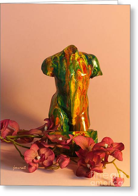 Lifestyle Sculptures Greeting Cards - Flower and Sculpture 2 Greeting Card by Johannes Murat