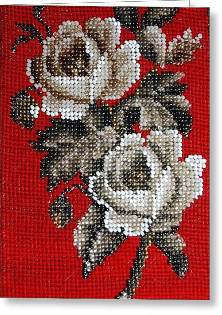 Fauna Tapestries - Textiles Greeting Cards - Flower Beadwork Greeting Card by Virginia Morley