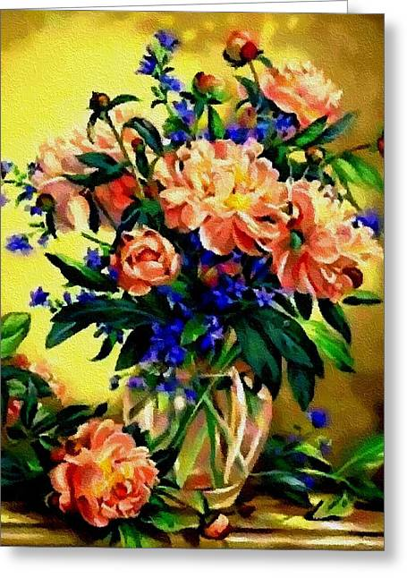 Abstract Digital Pastels Greeting Cards - Flower Bouquet Creations Catus 1 no. 2 H B Greeting Card by Gert J Rheeders