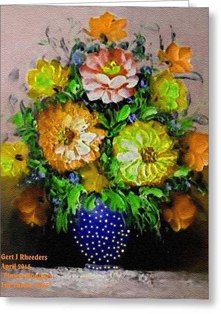 Message Pastels Greeting Cards - Flower Bouquet For Easter 2015 V a Greeting Card by Gert J Rheeders