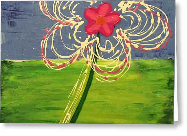 White Paintings Greeting Cards - Flower Greeting Card by Brittany Houchin