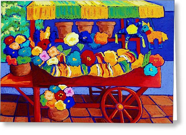 Mexican Flowers Greeting Cards - Flower Cart Greeting Card by Candy Mayer