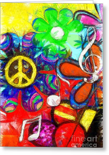 Flower Child Peace Love Pencil Greeting Card by Edward Fielding