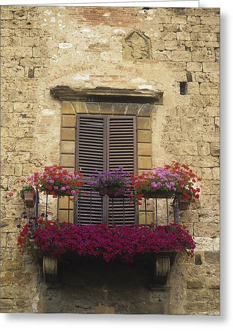 Italian Tuscan Greeting Cards - Flower Covered Balcony Greeting Card by Axiom Photographic
