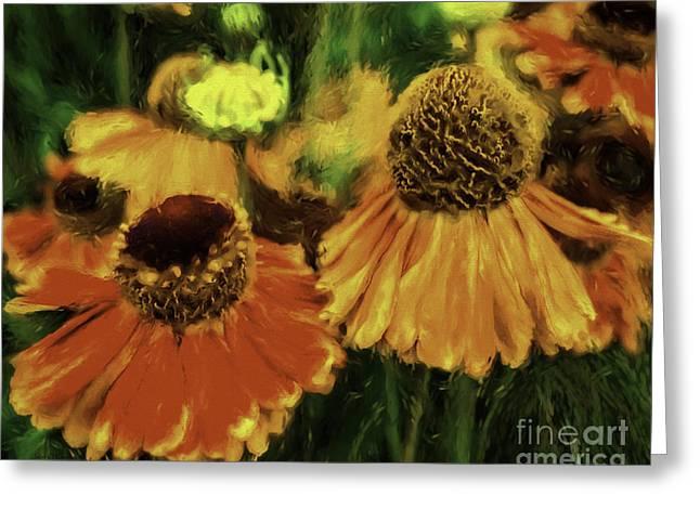 _art Greeting Cards - Flower Dance Greeting Card by Jean OKeeffe Macro Abundance Art