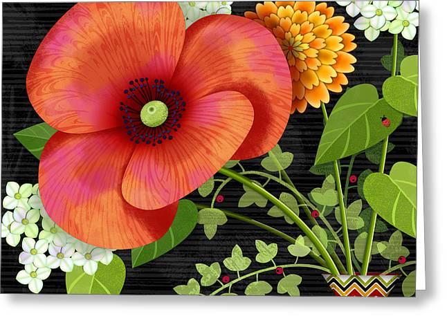 Flower Still Life Prints Greeting Cards - Flower Drama Greeting Card by Valerie   Drake Lesiak