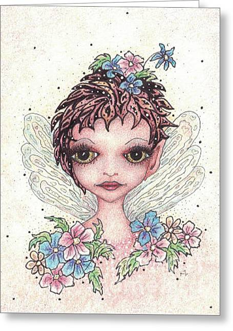 Flower Pink Fairy Child Drawings Greeting Cards - Flower Fairy Greeting Card by Karen Zemanek