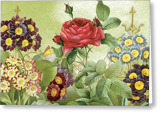 Floral Digital Art Greeting Cards - Flower Garden-JP3012 Greeting Card by Jean Plout