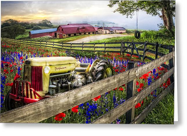 Red Roofed Barn Greeting Cards - Flower Farm Greeting Card by Debra and Dave Vanderlaan