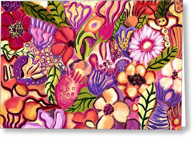 Purple Abstract Greeting Cards - Flower Fever Greeting Card by Kerry Mitchell