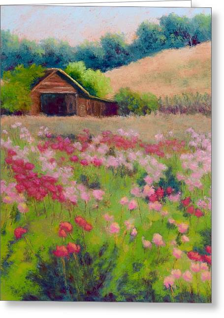 Oregon Pastels Greeting Cards - Flower Field Greeting Card by Nancy Jolley