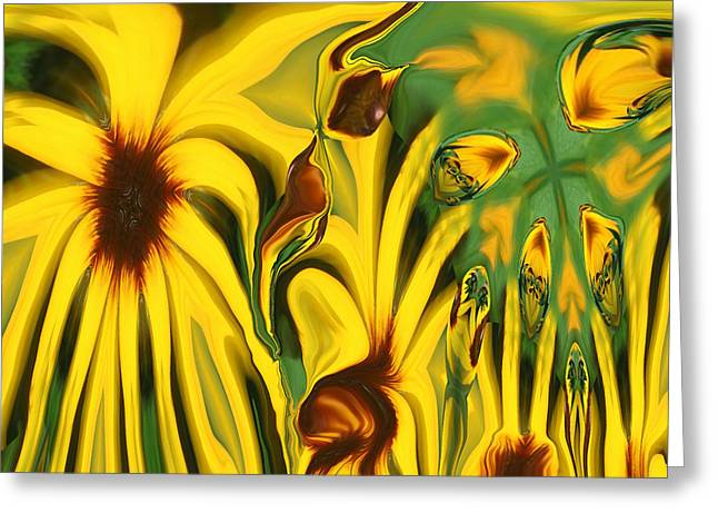 Abstract Expression Greeting Cards - Flower Fun Greeting Card by Linda Sannuti