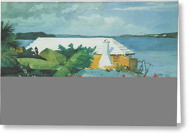 Winslow Homer Greeting Cards - Flower garden and Bungalow Bermuda Greeting Card by Winslow Homer