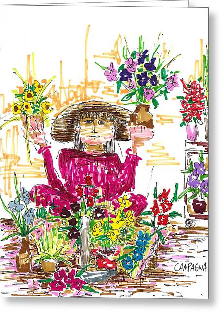 ist Marker Drawings Greeting Cards - Flower Girl Greeting Card by Teddy Campagna