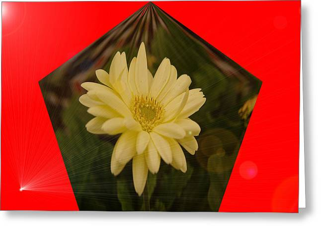 Pentagon Greeting Cards - Flower in a Pentagon  Greeting Card by Jeff  Swan