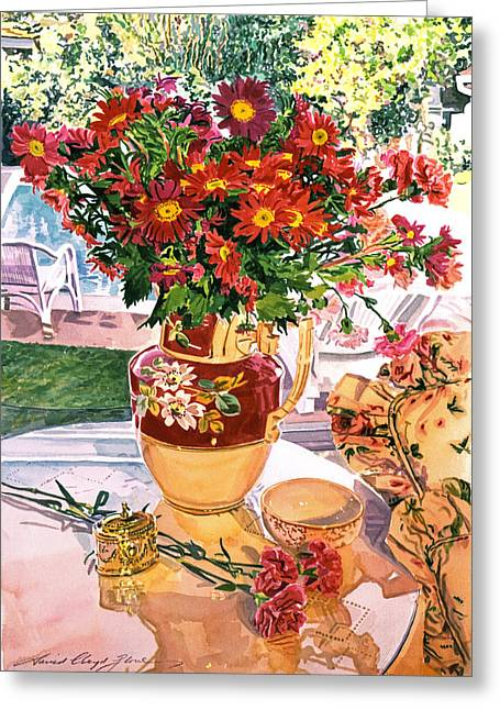 Carnation Greeting Cards - Flower Jug in The Window Greeting Card by David Lloyd Glover