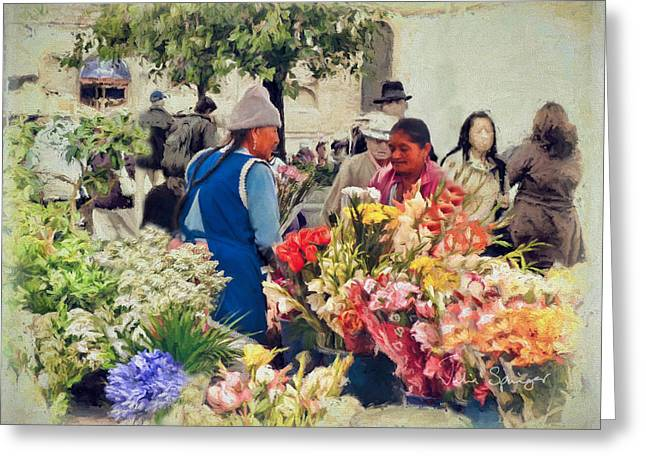 Babys Breaths Greeting Cards - Flower Market - Cuenca - Ecuador Greeting Card by Julia Springer