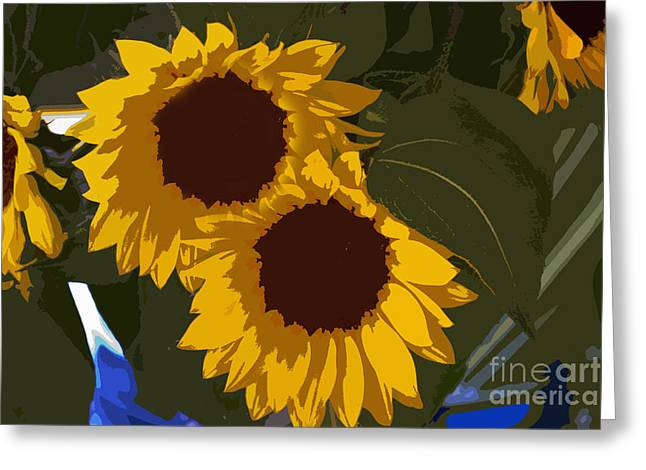 Famous Photographers Greeting Cards - Flower Market Sunflowers Painting Greeting Card by Al Bourassa