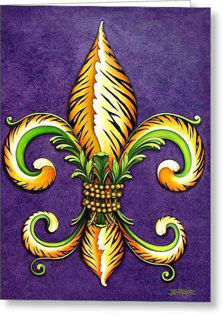 Lsu Greeting Cards - Flower of New Orleans LSU Greeting Card by Judy Merrell