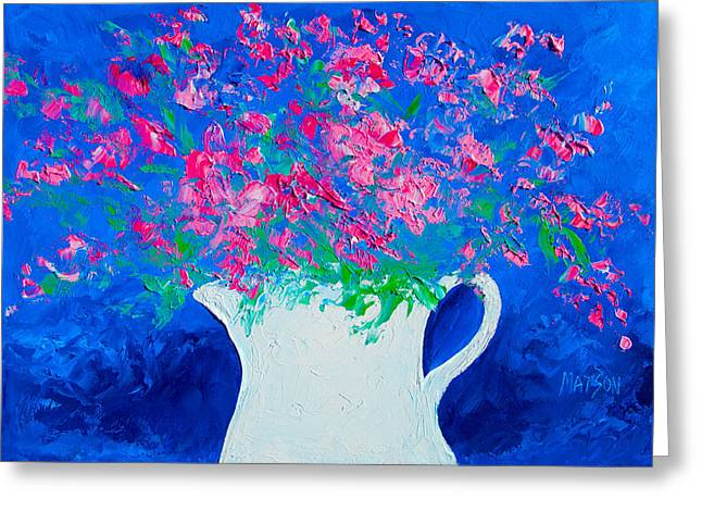 Flower Still Life Prints Greeting Cards - Flower Painting - Still Life Abstract  Greeting Card by Jan Matson