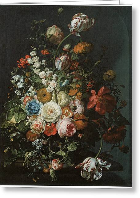 Master Piece Greeting Cards - Flower Piece Greeting Card by Rachel Ruysch