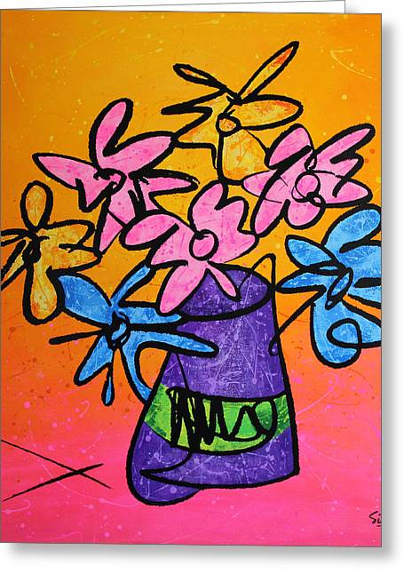 Whimsical. Greeting Cards - Flower Pop Greeting Card by Sid Wellman