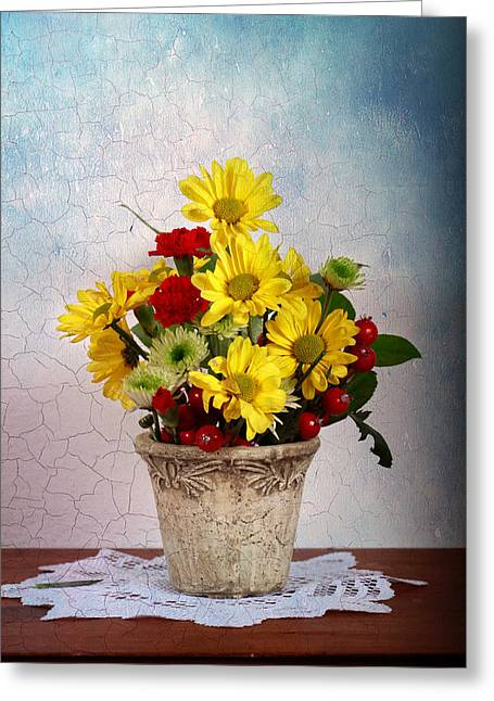 Yellow Flower Pot Greeting Cards - Flower Pot Greeting Card by Levin Rodriguez