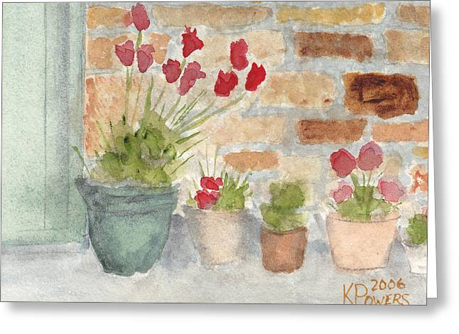 Flower Pots Greeting Card by Ken Powers