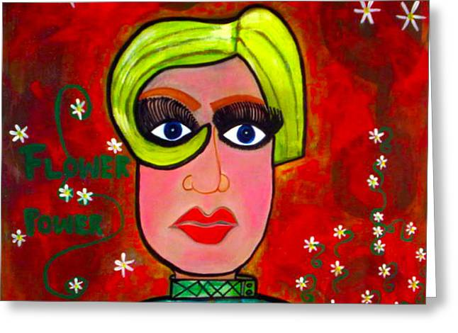 Twiggy Pop Art Greeting Cards - Flower Power Greeting Card by Kim Magee ART
