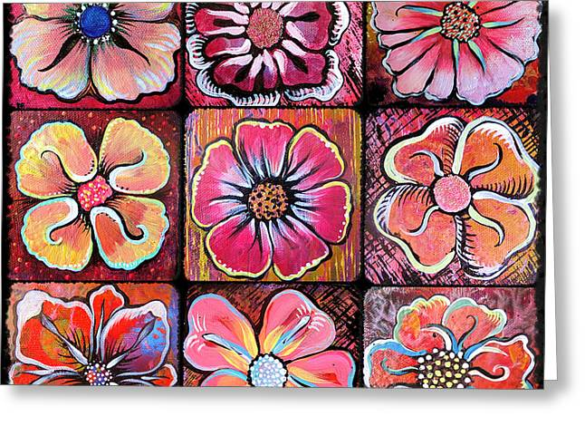 Montage Greeting Cards - Flower Power Montage Greeting Card by Shadia Zayed