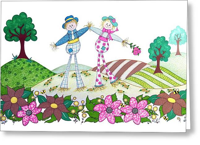 Patch Drawings Greeting Cards - Flower Power Scarecrows Greeting Card by Sandra Moore