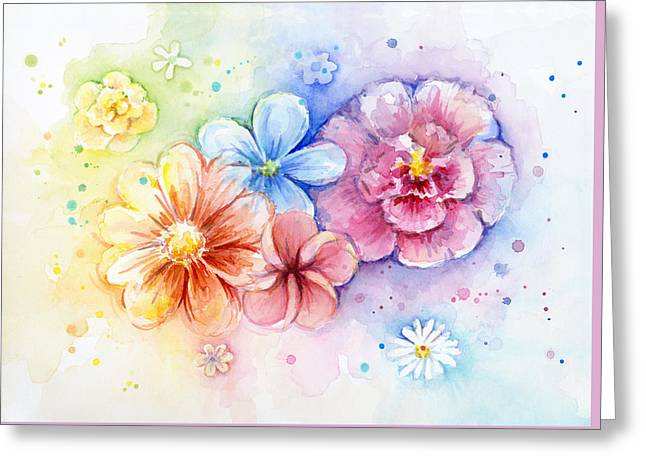 Power Paintings Greeting Cards - Flower Power Watercolor Greeting Card by Olga Shvartsur