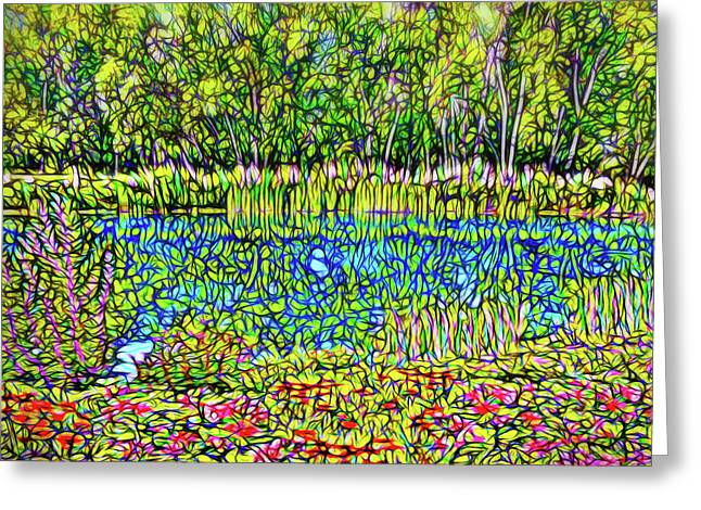 Mystical Landscape Greeting Cards - Flower Scented Pond - Colorado Lake With Trees And Flowers Greeting Card by Joel Bruce Wallach