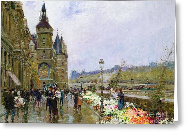 Architecture Greeting Cards - Flower Sellers by the Seine Greeting Card by Georges Stein