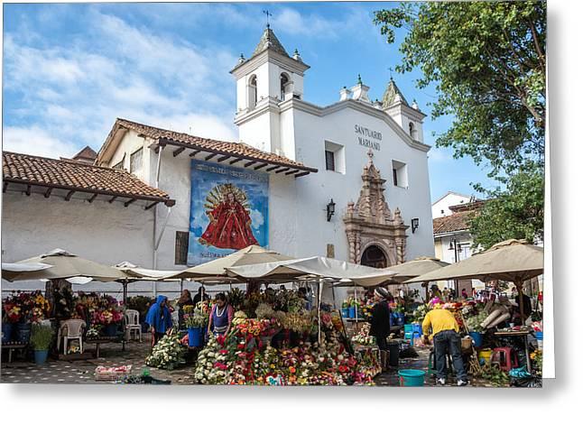 Cuenca Greeting Cards - Flower Sellers in Cuenca Ecuador Greeting Card by Jess Kraft