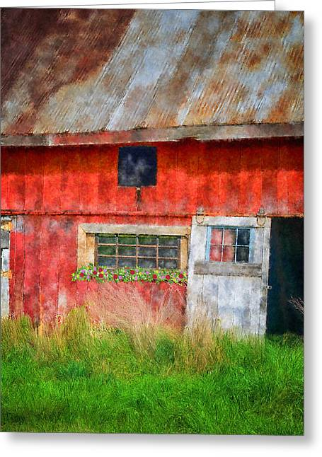 Tin Roof Greeting Cards - Flower Shed Greeting Card by Mary Timman