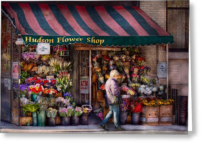 Flower Shop - Ny - Chelsea - Hudson Flower Shop  Greeting Card by Mike Savad