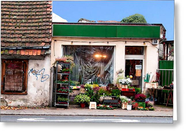 Store Fronts Greeting Cards - Flower Shop Greeting Card by Anthony Dezenzio