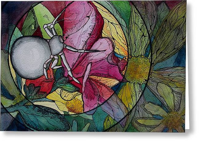Spider Flower Greeting Cards - Flower Spider Greeting Card by Kimberly Kirk