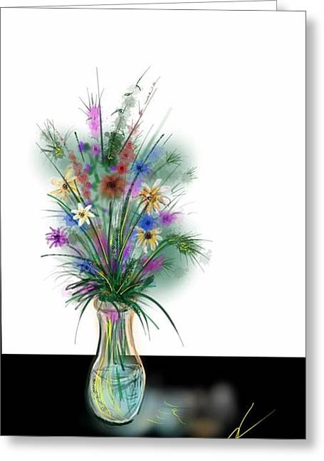 Glass Table Reflection Digital Art Greeting Cards - Flower study one Greeting Card by Darren Cannell