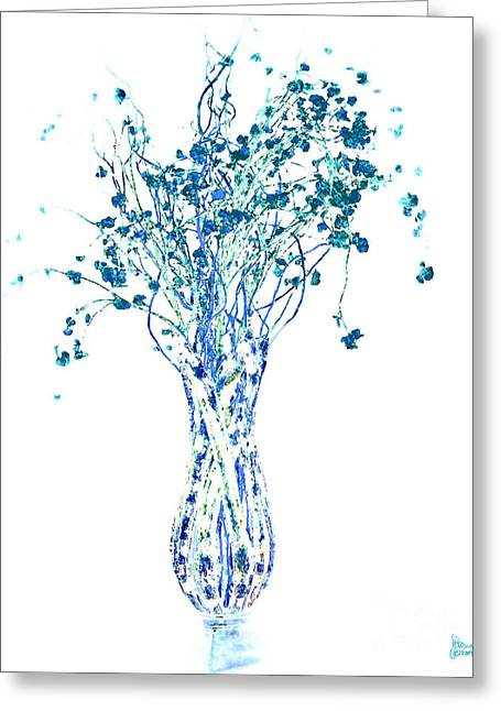 Abstract Vase Flower Print Greeting Cards - Flower Vase in Blue Greeting Card by Jeff Breiman