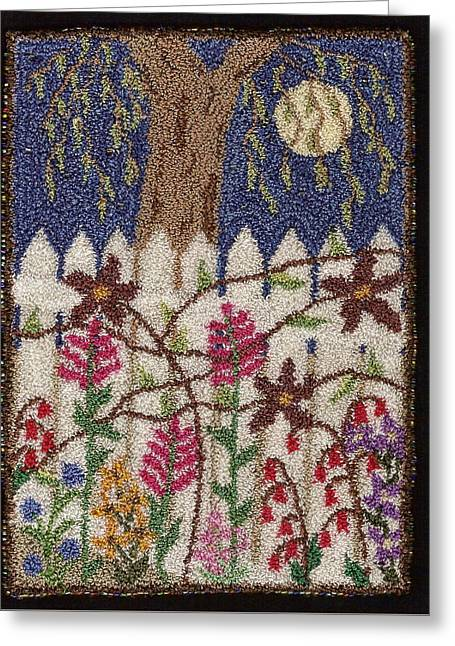 Primitive Tapestries - Textiles Greeting Cards - Flower Vines On The Fence Greeting Card by Jan Schlieper