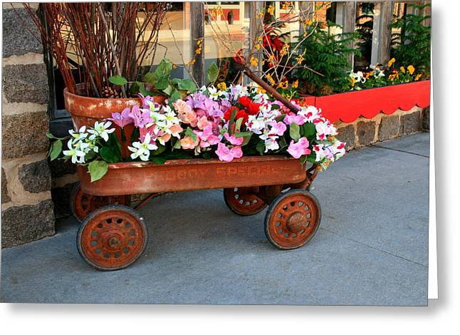 Flower Wagon Greeting Card by Perry Webster