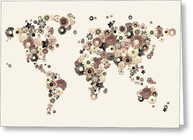 World Map Canvas Greeting Cards - Flower World Map Sepia Greeting Card by Michael Tompsett