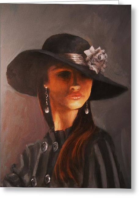 Woman In Hat Greeting Cards - Flowered Hat Plus Attitude Greeting Card by Tom Shropshire