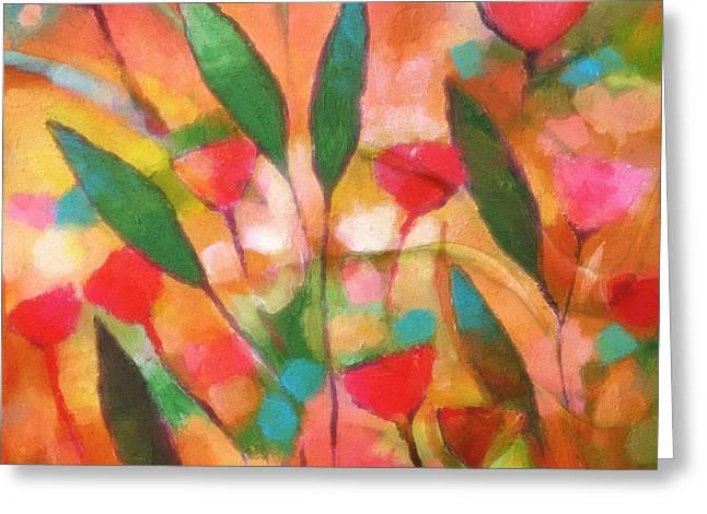 Painted Flowers Greeting Cards - Flowerflow Greeting Card by Lutz Baar