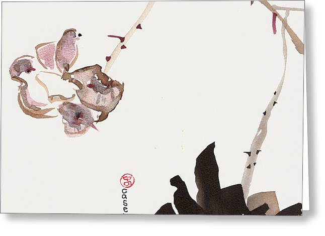Sumi Greeting Cards - Flowering Alone Greeting Card by Casey Shannon