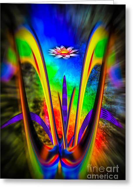 Flower Design Greeting Cards - Flowermagic14 Rainbow Fantasy Greeting Card by Walter Zettl