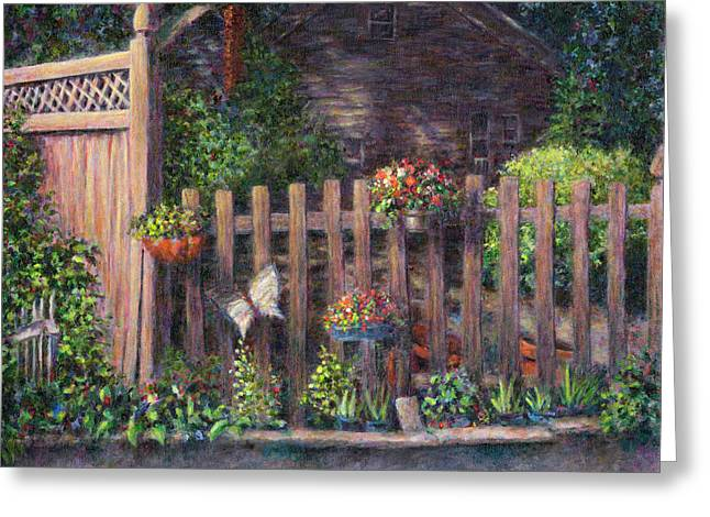 Flowerpots Hanging On A Fence Greeting Card by Susan Savad