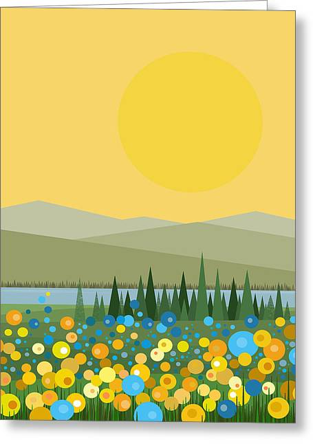 River View Digital Art Greeting Cards - Flowers After the Rain Greeting Card by Val Arie